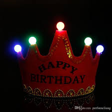 crown led happy birthday cap colorful non woven hat king princess