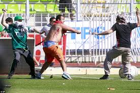 violent clashes between colo colo and santiago wanderers fans sees