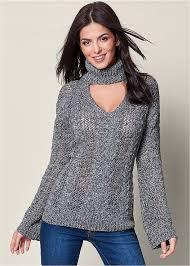 keyhole turtleneck venus keyhole turtleneck sweater in charcoal grey