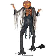 scorched scarecrow with fog machine halloween house decoration