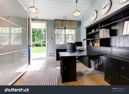 blue modern home office interior design stock photo 88544119