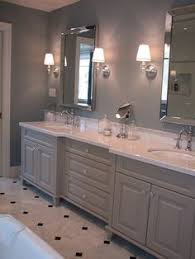 love the grey and white contrast with the custom cabinets and the