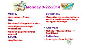 warm ups 1 st quarter astronomy wednesday topic classroom