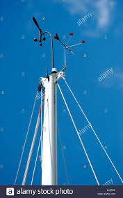 Nautical Weathervane Weather Vane Indicating Wind Speed Atop Of Sailboat Mast Stock