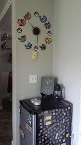 pokemon bead art wall clock video game room via reddit user
