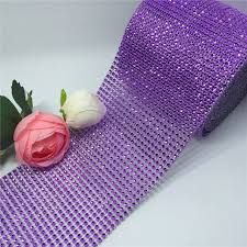 mesh ribbon table decorations 4 75 10yard light purple rhinestone trim wedding centerpieces