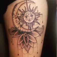 inlove with my sun and moon thigh tattoos