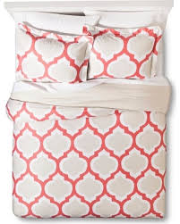 amazing deal on coral pink blurred lattice duvet cover set king