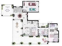 plan maison plain pied en l 4 chambres merveilleux plan maison plain pied 4 chambres garage 0