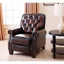 abbyson hogan italian leather reclining chair with nailheads