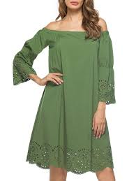 off the shoulder shift dress green xl in casual dresses