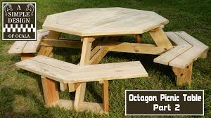 Plans For Building Picnic Table Bench by Build An Octagon Picnic Table Part 2 Youtube