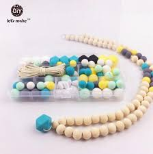 baby teething necklace silicone images Silicone beads pacifier clip eco baby teething beads set nursing jpg