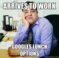 Office Work Memes - arrives to work googles lunch options fat office worker quickmeme