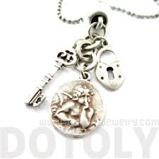 heart shaped charm necklace images Skeleton key heart shaped lock and angel coin shaped charm jpg