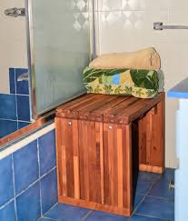 modern wood shower bench forever redwood