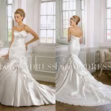 tucked sweetheart satin mermaid wedding dress with embellishment