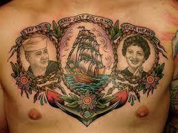 sailor portraits with ship and anchor chest tattoos