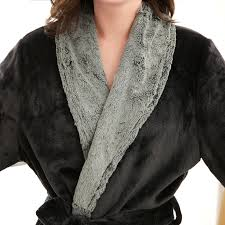 robe de chambre homme luxe amoureux de luxe col de fourrure d hiver chaud peignoir