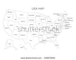 map of usa black outlines map usa names on stock vector 528072694