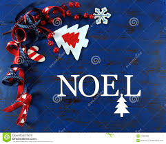 christmas background with felt decorations on dark blue vintage