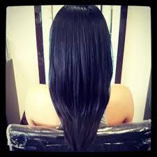 shaped long haircut long layered v cut haircuts back view black