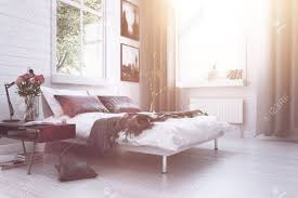 Modern Luxury Bedroom Furniture Warm Sunlight With Sun Flare In A Modern Luxury Bedroom With