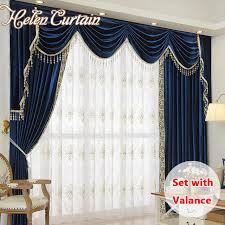 Curtains Set Helen Curtain Set Luxury Velvet Royalblue Curtains For Living Room