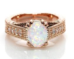 vintage style engagement rings oval white fire lab created opal rose gold plated antique vintage