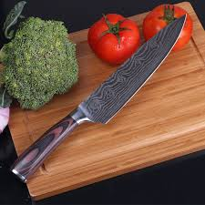 laser kitchen knives 1 pieces 8 inch stainless steel chef knife damascus steel blade