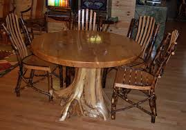 cabin dining table unique tree stump base rustic branch