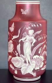 Antique Cranberry Glass Vase Antique Bohemian Art Glass Vase Cranberry Cameo Glass All Sorts