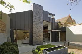 exteriors gorgeous volumetric modern house with high brick