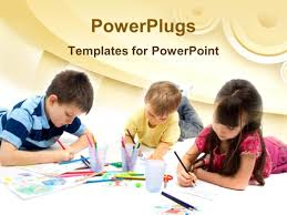 free children powerpoint templates drawing powerpoint templates crystalgraphics powerplugs powerpoint template with three children drawing with colored pencils arts and crafts