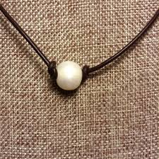 big pearl choker necklace images Leather and single pearl 11 12 mm from startwithstone on etsy jpg