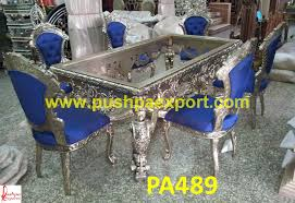 Silver Dining Tables Antique Style Carving Silver Dining Table And Chairs Pushpa Arts