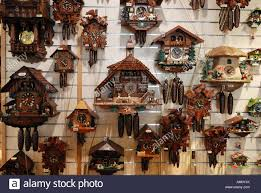 traditional cuckoo clocks in a gift shop fuessen bavaria