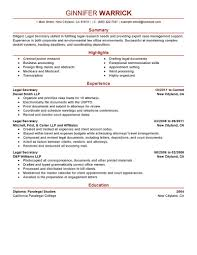 Sample Resume Objectives For Medical Billing by Best Legal Secretary Resume Example Livecareer