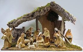 crib nativity set 6 inch wood effect figures with stable
