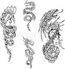 stylized dragon spiral tattoos set of black and white vector