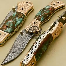 new damascus folding knife custom handmade damascus steel with