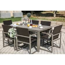 Patio Dining Set With Bench Six Person Patio Dining Sets You Ll Wayfair