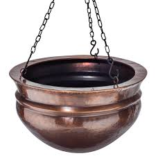 h potter small brass patio deck hanging planter antique finish h