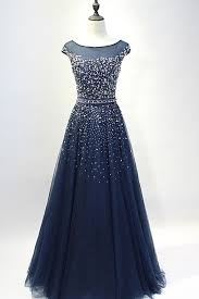 evening gowns blue tulle sequins neck length prom dresses a