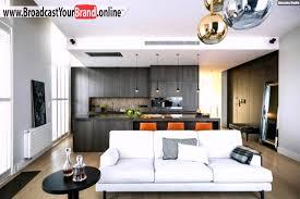 küche im wohnzimmer wohnküche in braun mit wohnbereich mit hellblauem sofa küche