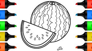 how to draw watermelon step by step drawing and coloring pages for