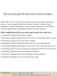 cover letter sample for security officer top8securityguardsupervisorresumesamples 150516152447 lva1 app6892 thumbnail 4 jpg cb u003d1431789931