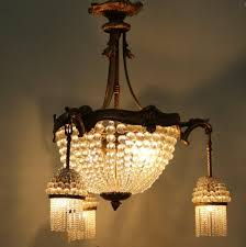 Czech Crystal Chandeliers French Bronze And Crystal Chandelier 1920s For Sale At Pamono