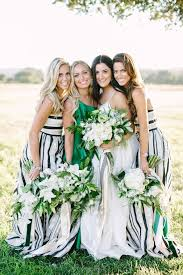 print bridesmaid dresses modern preppy wedding in black gold and emerald with mixed