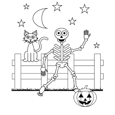 skeleton coloring page skeleton with four bats coloring page